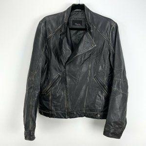 Zara Man Black Distressed Moto Leather Jacket